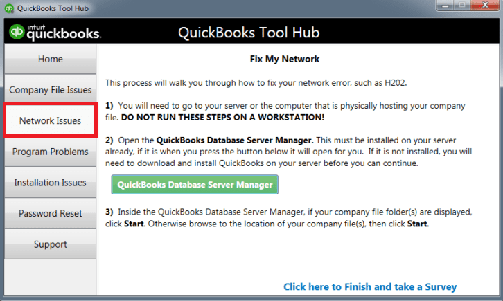 QuickBooks Tools Hub, select Network Issues